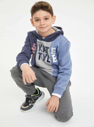 Navy Blue - Boys` Sweatshirt - DeFacto