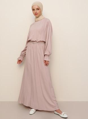 Pink - Crew neck - Unlined - Viscose - Dress