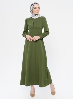 Khaki - Polo neck - Unlined - - Dress