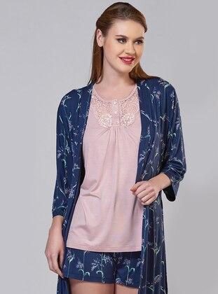 Blue - V neck Collar - Viscose - Pyjama Set
