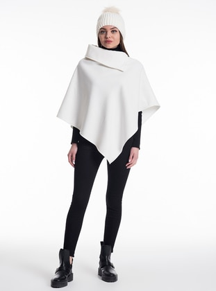 White - Polo neck - Unlined - Poncho