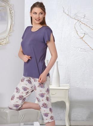 Purple - Crew neck - Viscose - Pyjama Set