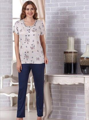 Cream - Crew neck - Viscose - Pyjama Set