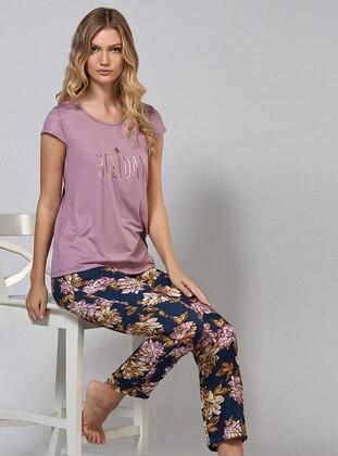 Lilac - Crew neck - Viscose - Pyjama Set