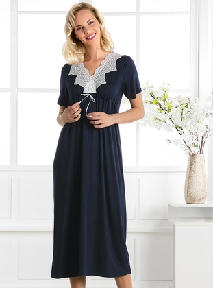 Navy Blue - V neck Collar - Viscose - Nightdress