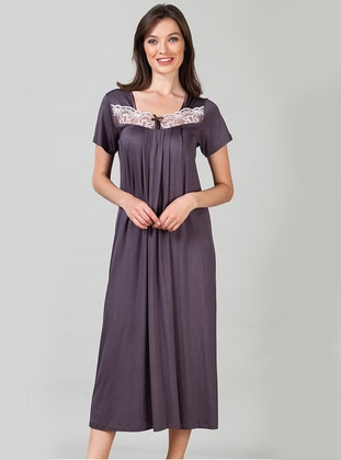 Mink - V neck Collar - Viscose - Nightdress