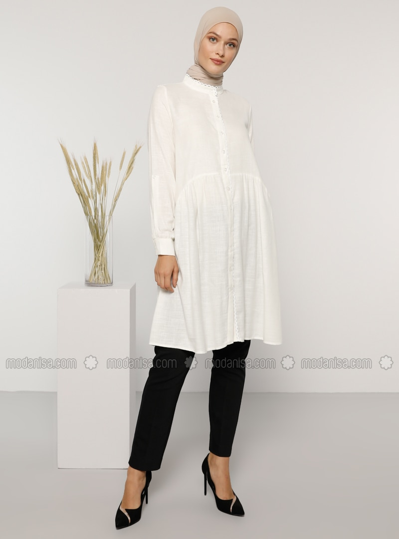 White - Ecru - Zebra - Button Collar - - Tunic