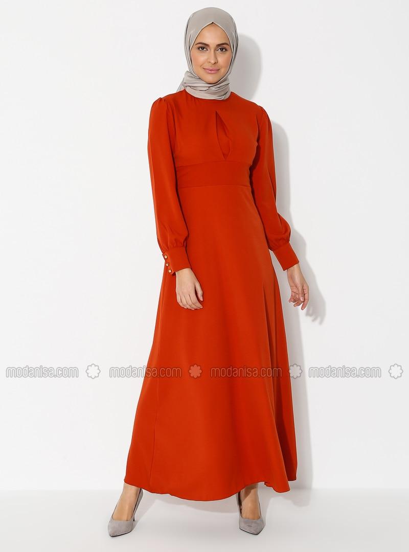 Terra Cotta - Polo neck - Unlined - - Dress