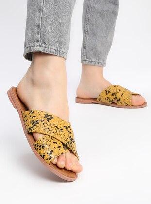 Mustard - Black - Sandal - Slippers