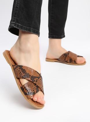 Black - Tan - Sandal - Slippers