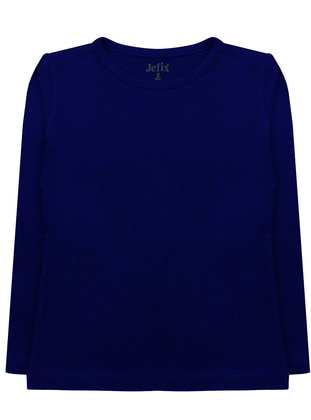 Crew neck -  - Navy Blue - Girls` T-Shirt