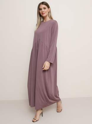 Purple - Unlined - Crew neck - Plus Size Dress - Alia
