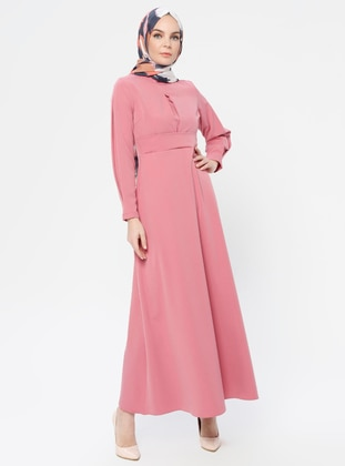 Pink - Polo neck - Unlined -  - Dress
