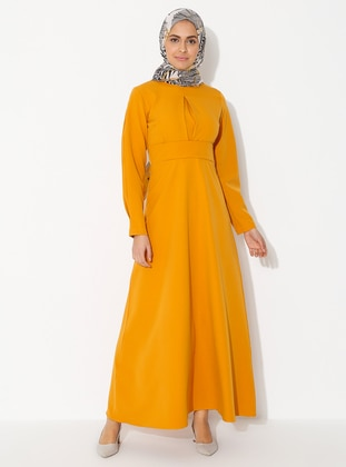 Yellow - Polo neck - Unlined - - Dress