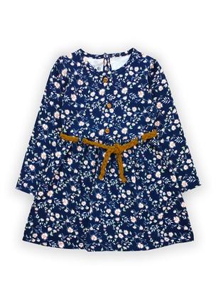 Multi - Crew neck -  - Multi - Navy Blue - Baby Dress