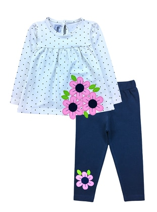 Floral - Polka Dot - Crew neck -  - Unlined - White - Baby Suit