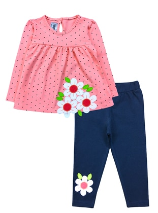 Floral - Polka Dot - Crew neck -  - Unlined - Pink - Baby Suit
