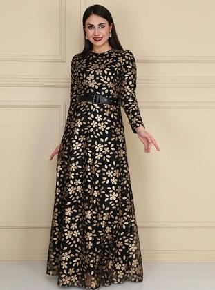 Gold - Black - Fully Lined - Crew neck - Muslim Evening Dress