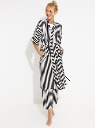 White - Black - Viscose - Morning Robe