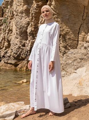 White - Ecru - Button Collar - Unlined - Denim - Dress