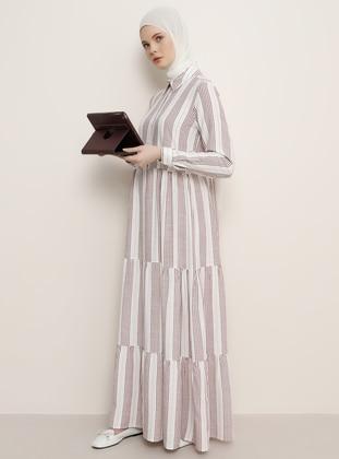 Plum - Stripe - Point Collar - Unlined - Cotton - Viscose - Dress