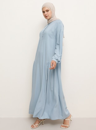 Blue - Crew neck - Unlined - Viscose - Dress
