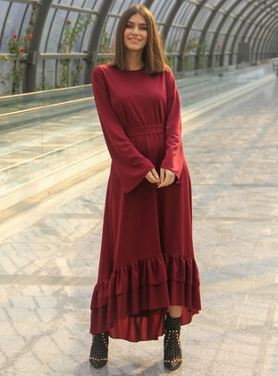 Maroon - Fully Lined - Dress