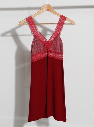 Maroon - V neck Collar - Combed Cotton - Nightdress