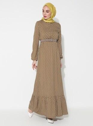 Olive Green - Polka Dot - Crew neck - Unlined - Dress