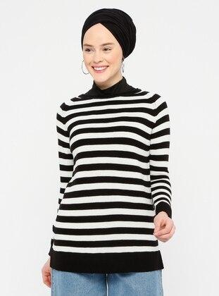 Black - Stripe - Crew neck - Acrylic -  -  - Jumper