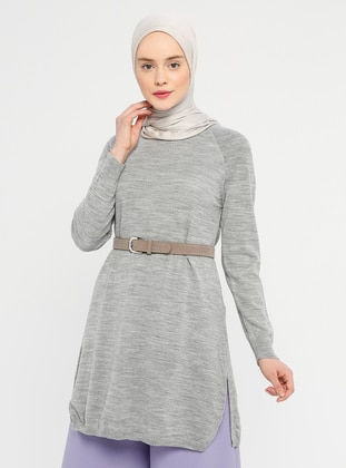 Gray - Crew neck - Acrylic -  -  - Tunic