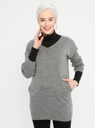 Gray - V neck Collar - Acrylic -  -  - Tunic