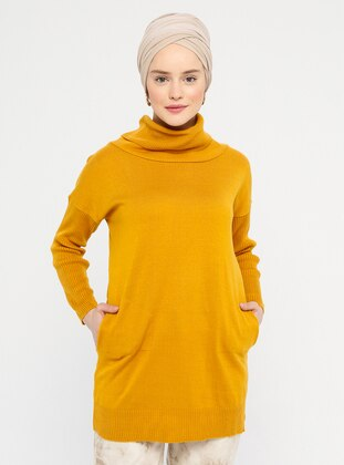 Mustard - Polo neck - Acrylic -  -  - Tunic
