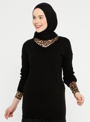 Black - V neck Collar - Acrylic -  -  - Tunic