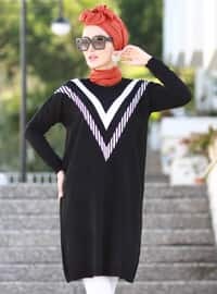 Black - Crew neck - Acrylic -  -  - Tunic