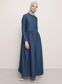 İndigo - Düğmeli yaka - Astarsız kumaş - Kot - Elbise