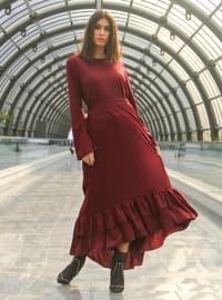Bordo - Astarlı kumaş - Elbise