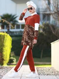 Terra Cotta - Leopard - Unlined - Acrylic -  - Suit