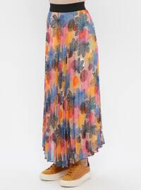 Blue - Pink - Multi - Fully Lined - Skirt