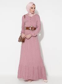 Pudra - Puantiyeli - Yuvarlak yakalı - Astarsız kumaş - Elbise
