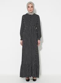 Siyah - Puantiyeli - Yuvarlak yakalı - Astarsız kumaş - Elbise