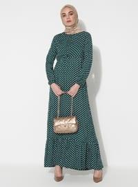 Yeşil - Noktalı - Yuvarlak yakalı - Astarsız kumaş - Elbise