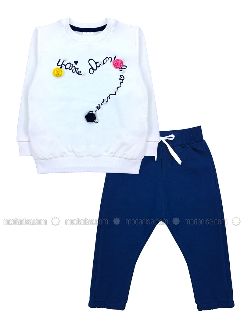 Crew neck -  - Unlined - White - Navy Blue - Baby Suit