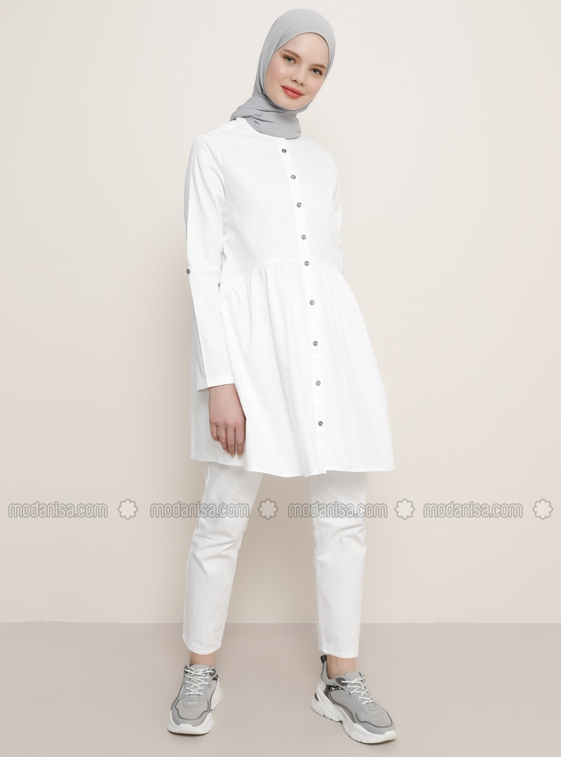 White - Ecru - Button Collar - Denim - Tunic