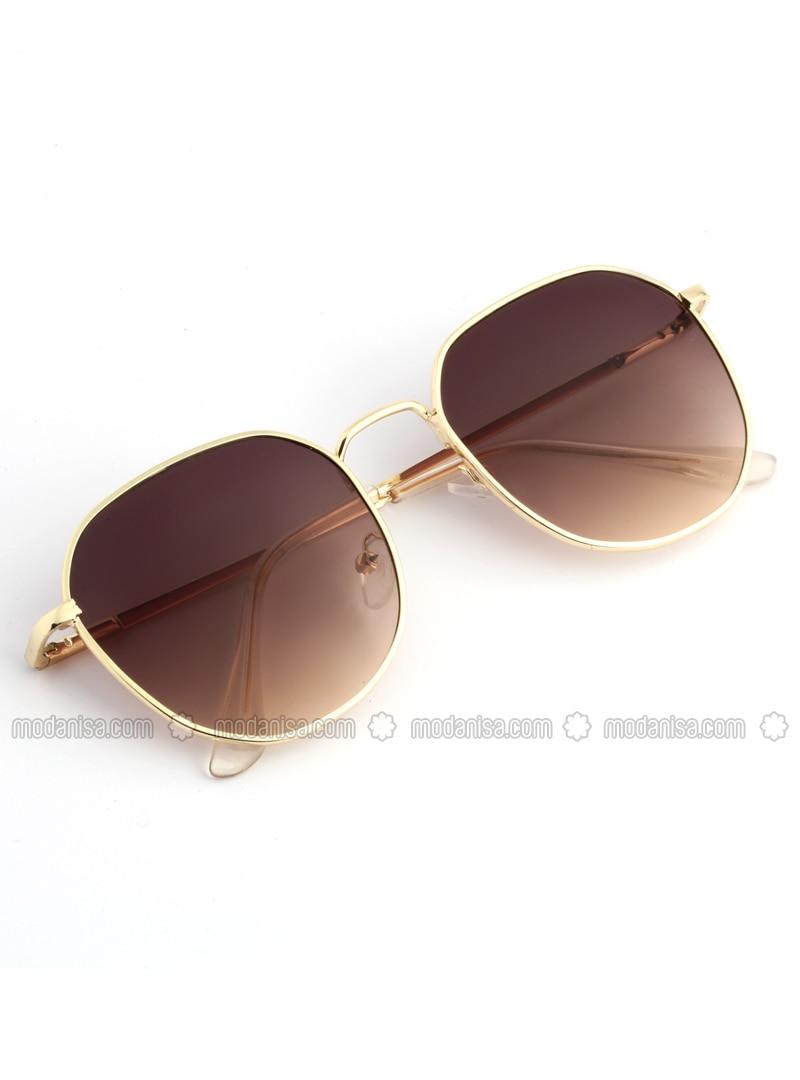 Gold - Brown - Sunglasses