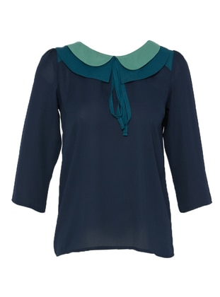 Navy Blue - Round Collar - Blouses