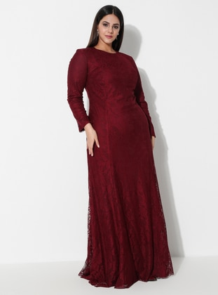 Maroon - Fully Lined - Crew neck - Cotton - Modest Plus Size Evening Dress