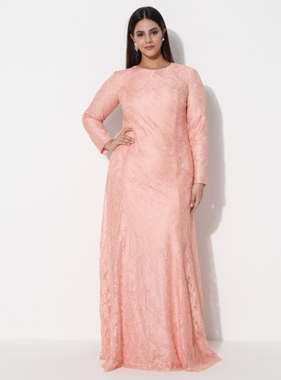 Powder - Fully Lined - Crew neck -  - Muslim Plus Size Evening Dress