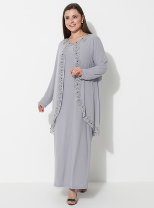 Gray - Unlined - Crew neck - Muslim Plus Size Evening Dress