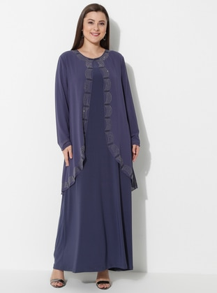 Indigo - Unlined - Crew neck - Muslim Plus Size Evening Dress